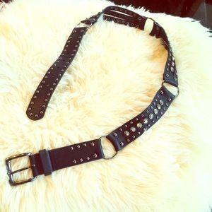"Accessories - Black leather rhinestone belt! 33-38"". Beautiful!"